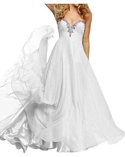 La_mia Braut Anmutig Chiffon Steine Herzausschnitt Abendkleider Brautjungfernkleider Partykleider Lang A-linie Weiß