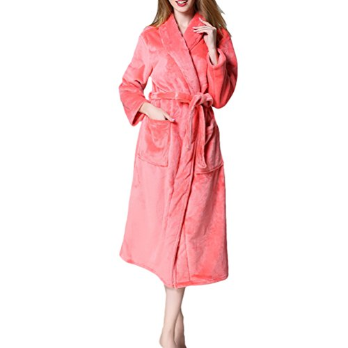 Zhhlinyuan Women's Men's Extended Thick Supersoft Fleece Bathrobe Dressing Gown Robe Plus Size (Womens Plus Size Roben)