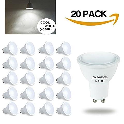 GU10Ampoule LED 20x Paul Russels spot ampoules Blanc froid 4000K, 4W équivalent 40W Ampoule Incandescente/halogène, 100° Angle de faisceau SMD Spot ampoules [Lot de 20]