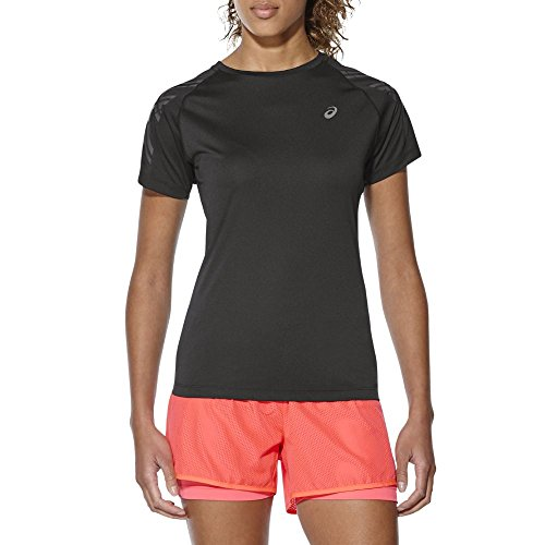 Asics Stripe SS Top-Shirt, Damen Schwarz (performance black)