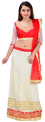 Mira Fashion Women's Net Lehenga Choli (Red and Off-White)  available at amazon for Rs.690