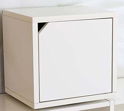 Etagère cube tournante avec porte Standregal M33 coloris blanc, Dim: H33 x L34 x P29 cm -PEGANE-