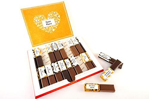 SURPRISA Aufkleber Set für Merci Schokolade - Dankeschön Mama/Papa - kreative Geschenke für Freundin, Freund, Mutter, Vater - kleine aber persönliche Geschenkideen - kleines Geschenk Partner