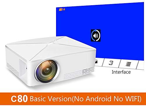 WN-PZF Projektor, verbesserter LED-Videoprojektor Mini-tragbares HDMI 1080P-Heimkino unterstützt Full HD HDMI für PS4-Laptops, Smartphones, Spiele-TVs, Multimedia-Heimkinos,C80Basicversion