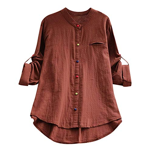 Andouy Damen Hemd Top Kariertes Langarm Leinen Plus Size Gr.38-46 Tunika Knopf Lose Bluse Übergroß(3XL(48).Kaffee-Knopf - Pullover Verkauf Damen Auf Strickjacke