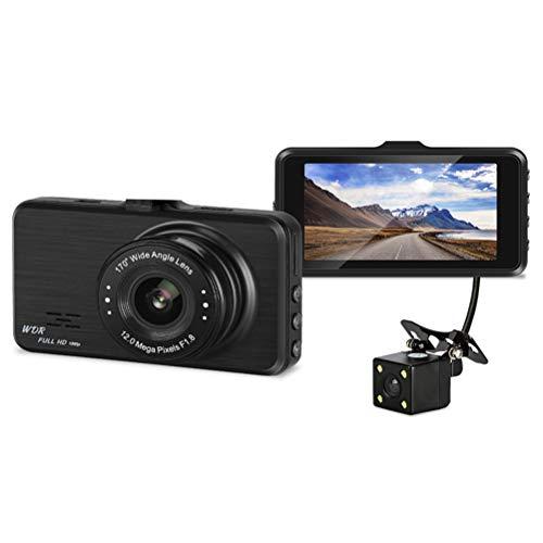 Vosarea cámara Doble cámara de visión Nocturna grabación en Bucle (con Sensor de G Sensor HD 170° con Tarjeta TF de hasta 32GB 3Pulgadas (Negro)