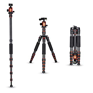 Rollei Carbon traveler tripod in Orange with ball head - compatible with DSLR & DSLM cameras - incl. monopod, Acra Swiss quick release plate & tripod bag