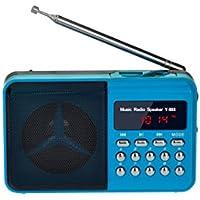 eJiasu portátil recargable Mini radio FM con altavoz Soporte de música Mp3 / USB Ranura para tarjeta de Puerto / TF / MP3 Memoria de reproducción / Salida de pantalla LED de visualización / auriculares para niños, viejo hombre en el dormitorio, cocina, Corta (Azul)