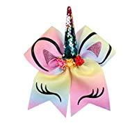 for Girls Glitter Printed Hair Bow with Floral Sequin Horn Elastic Band Hair Tie Hair Accessories