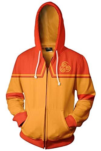 (RedJade Herren Damen Kapuzenjacke Pullover mit Kapuze Sweatjacke Hoodie Orange Avatar: The Last Airbender ANG)