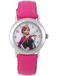Nieve Queen Disney de equitación para niña analógico reloj infantil de cuarzo con esfera blanca con números en rosa correa de piel W002018