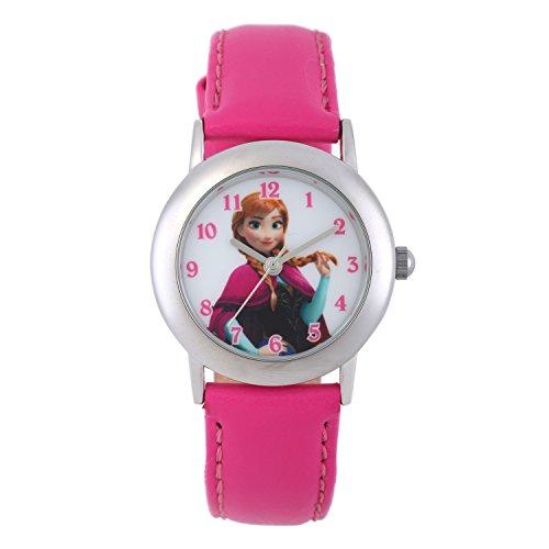 Disney W002018 - Orologio da polso analogico al quarzo, per bambine, con immagine di Elsa la Regina delle nevi, con quadrante bianco e cinturino rosa