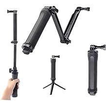 3 way montaje aizhy brazo trípode monopié ajustable mano agarre palo de selfie para GoPro Hero 5/4/3 +/3/2/1 Cámara de acción sesión (negro)