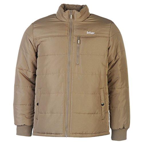 Lee Cooper Solid imbottito giacca da uomo caldo leggero collo alto tempo libero marrone XXL