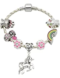 Girl's Cream Leather Unicorn Birthday Charm Bracelet with Gift Box and Unicorn Insert
