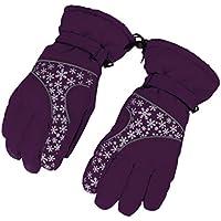 BXT mujer invierno ciclismo impermeable esquí 360grado térmico y grueso antideslizante guantes de copo de nieve, Snowfake Purple