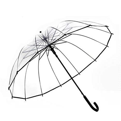 DWJ-Z Transparent Golf Regenschirm, Langen Griff Eisen Automatisch 14 Rippen Wasserdicht Kreativ
