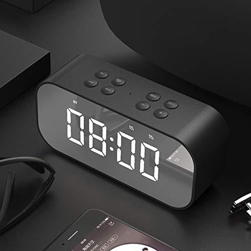 JHJX Bluetooth-Lautsprecher LED Wireless Uhr-Alarm Anzeige Bluetooth-Lautsprecher - TF-Karte - Radio Computer-Lautsprecher,Black