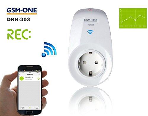 Smart Home Automation Wifi Steckdose, (max. 3500W), inkl. App DRH-303 REV. 3 mit VERBRAUCHSMESSUNG und ZEITSCHALTAUTOMATIK, WATTMETER. - Jetzt ALEXA (Echo) steuerbar