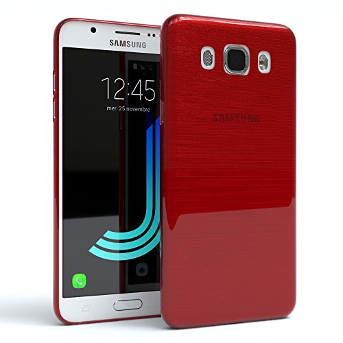 Samsung Galaxy J5 (2016) Hülle - EAZY CASE Ultra Slim Cover Handyhülle - dünne Schutzhülle aus Silikon in Transparent Brushed Rot