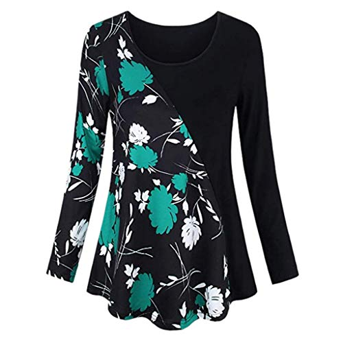 VEMOW Sommer Herbst Elegant Damen Oberteil Langarm O Neck Printed Flared Floral Beiläufig Täglich Geschäft Trainieren Tops Tunika T-Shirt Bluse Pulli(Y2-Grün, EU-42/CN-L)
