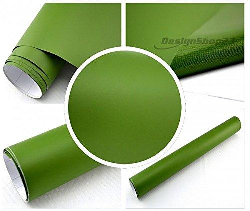 Preisvergleich Produktbild 5€/m² Auto Folie - olive nato grün matt - 10 x 1,5 meter selbstklebend BLASENFREI flexibel Car Wrapping Klebefolie folieren
