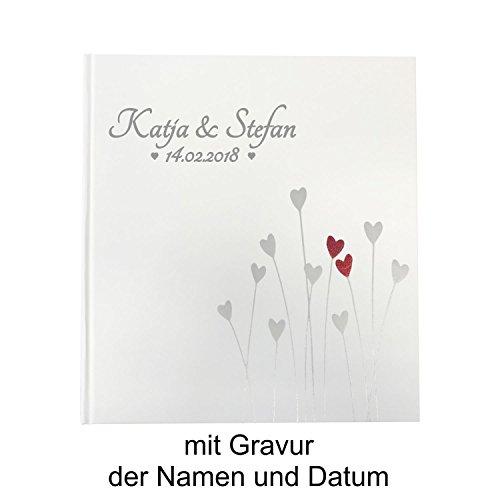 KATINGA Personalisiertes Gästebuch Herzen für Hochzeiten (Gästebuch mit Gravur) (Hochzeit Gästebuch Personalisierte)