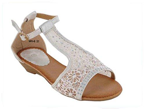 XINJING-S Frauen Diamante Spitze Party Abend Hochzeit niedrige Wedge Sandalen Schuhe Damen Größe Weiß/Silber
