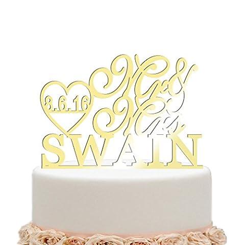 vspg Personalised Wedding Cake Topper Keepsake Gifts (Mirror