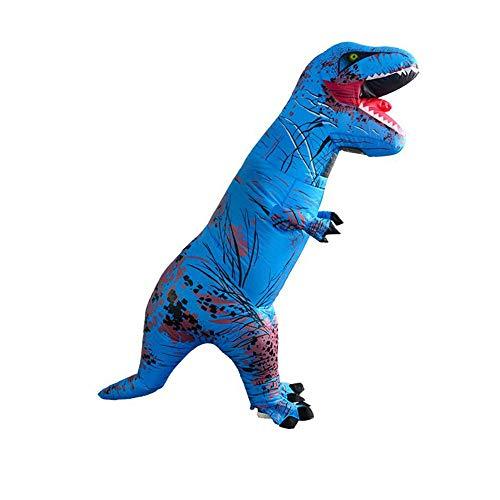 CLCYL Aufblasbares Kostüm des Dinosauriers Kinderaufblasbares Dinosaurier-Kostüm T Rex Kinder Halloween Cosplay Tyrannosaurus Rex Tyrannosaurus Elternteil-Kind-Stadiums-Ausrüstungs,Blue