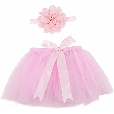 Lovinglove Baby Girls Cute Bunny Skirt Feather Lace Suit and Elastic Headband Gift Set (Pink 1) by Lovinglove
