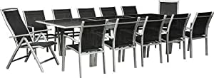 wohnstyle salon de jardin xxl ensemble terrasse aluminium et noir grande table rallonge 200. Black Bedroom Furniture Sets. Home Design Ideas