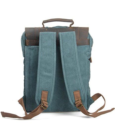 simplebase Unisex in Pelle con tela zaino Vintage Casual zaino borsa da palestra verde 6819green Standard 6820blue
