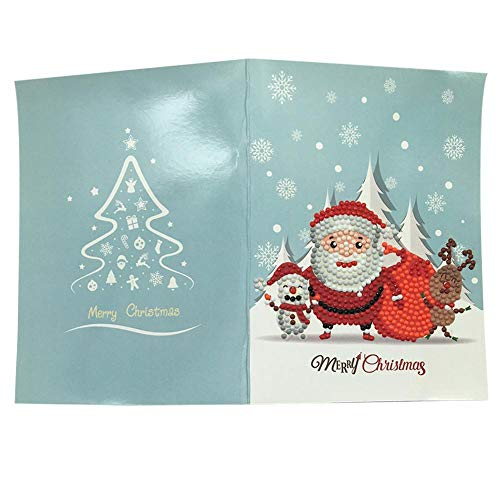 xuanyang524 Weihnachtsgrußkarte Diamant Malerei, Kreative Manuelle 3D Diamant Malerei Vollbohrer Cartoon Weihnachtsmann Postkarte Kits für Festliche Geburtstag Neujahr Geschenk (4 Packs) conventional (Weihnachtsmann Postkarten)