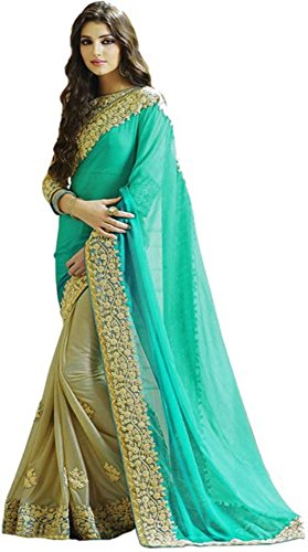 SARGAM FASHION Women\'s Georgette Saree With Blouse Piece (Srmbbluecord)