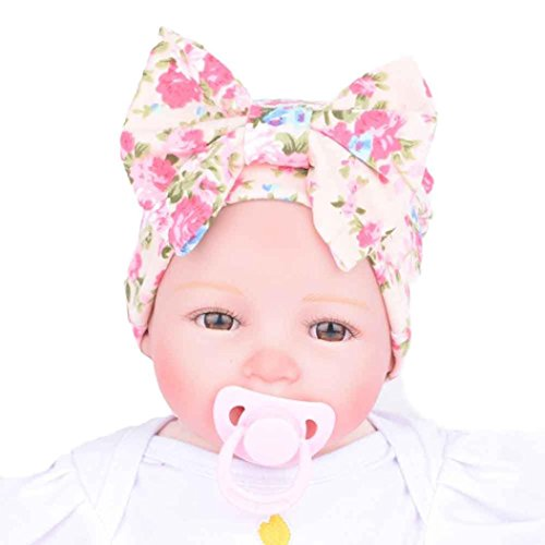 Covermason Cute Newborn Hospital Baby Hats With Flower Bowknot (Pink)