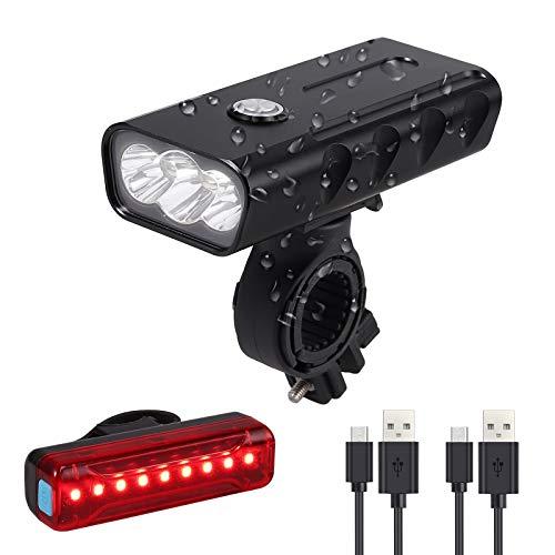 Justech Luces de Bicicleta Recargables por USB Luz Súper Brillante de 3LED 800LM Luz de Faro Luces...
