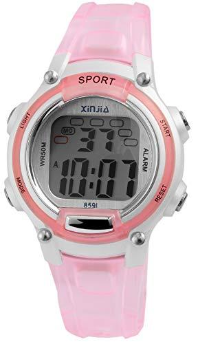 XINJIA - Reloj de Pulsera para Hombre (Silicona, Mecanismo de Cuarzo), Color Rosa y Plateado