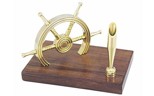 Maritimer Stifthalter mit Steuerrad aus Holz / Messing