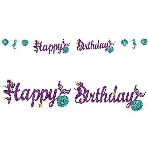 MAFENT Glitter Meerjungfrau Happy Birthday Banner Meerjungfrau Partei Lieferungen für Geburtstagsfeier Dekoration und Schmuck (Purple) (Birthday Glitter Happy Banner)