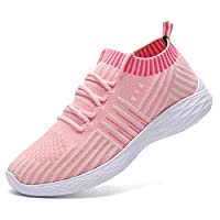 adituob Womens Knit Breathable Trainer Sneaker Casual Sport Shoes Lightweight Walking Shoes Pink 5.5UK/EU39