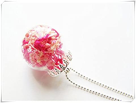 Collier boule en verre rose et séché Rouge cerise de bébé haleine–Collier Femme–Plaqué Argent véritable fleur collier.