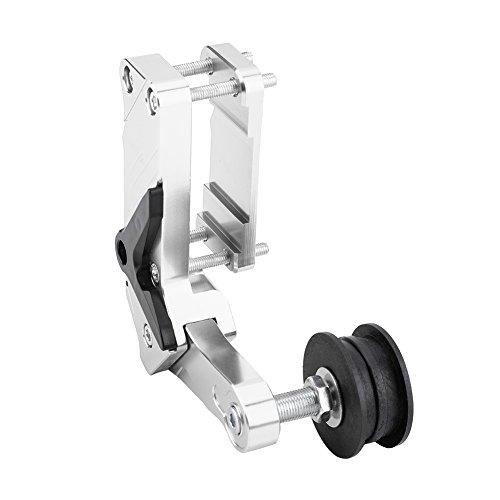 KIMISS Motorrad Kettenspanner, Link Länge Modifizierte Ketteneinsteller Roller CNC Aluminiumlegierung Universal Werkzeug Für Schmutz Pit Bike ATV(Silber)