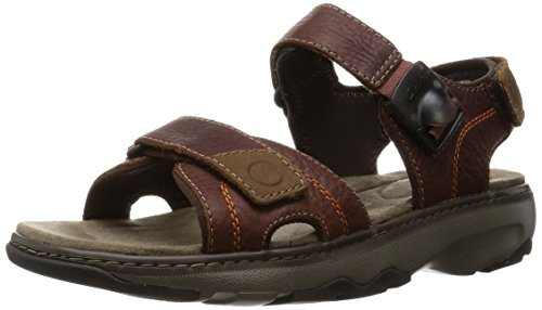 Clarks Raffe Sun - Sandali a Punta Aperta Uomo, Marrone (Brown Leather), 43 EU