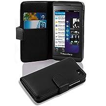 Cadorabo - Funda Blackberry Z10 Book Style de Cuero Sintético en Diseño Libro - Etui Case Cover Carcasa Caja Protección con Tarjetero en NEGRO-ÓXIDO
