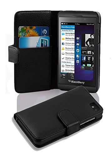 Cadorabo Hülle für BlackBerry Z10 - Hülle in Oxid SCHWARZ - Handyhülle mit Kartenfach aus struktriertem Kunstleder - Case Cover Schutzhülle Etui Tasche Book Klapp Style
