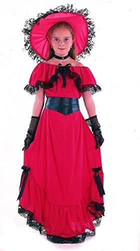 Preisvergleich Produktbild Scarlett-Kinderkostüm Wilder Westen Südstaaten-Lady rot-schwarz 122 / 134 (7-9 Jahre)