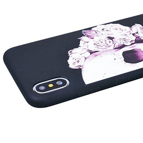 Cover iPhone X, SMART LEGEND Custodia iPhone X Case TPU Silicone Semi Frosted Opaca Trasparente Ultra Slim Gomma Morbido Gel Bumper, Soft Caso Flessibile Protettiva Antiurto Shock Cover - Crisantemo 1 Cranio 1