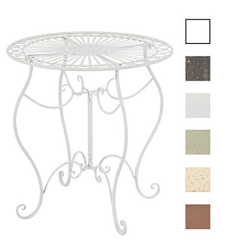 CLP Table de Jardin Ronde INDRA avec Diamètre Ø 70 cm | Table en Fer Forgé Pour Usage Extérieur au Jardin, sur la Terrasse ou au Balcon | Piètement Galbé en Métal, Couleur au Choix: blanc