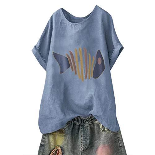 Andouy Damen Mode Lustige Muster Tees Beiläufige Feste Gedruckte Lose Flügelhülsen Gr.40-54 Übergroße T-Shirt Tops(XL(46).Blau-Fisch) Arabesque Tee